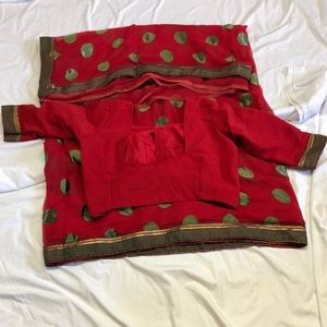 Red indian polka dot saree